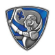 A logo that is a blue and silver sheild with a maiden warrior on it. This represents Jeanne D'Arc Credit Union, a long-time supporter and sponsor of The Megan House Foundation.