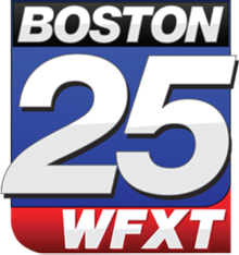 Channel logo for Boston 25 WFXT. Red and blue backgrounds with white letters.